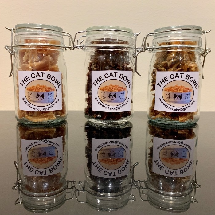 Jars of treats: The Cat Bowl healthy dehydrated pet cat dog treats