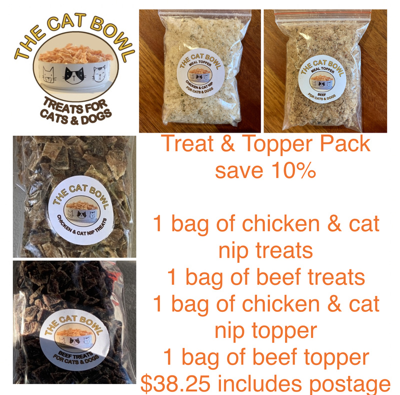 Treats & Topper Pack: Beef and Chicken & Cat Nip (includes postage)