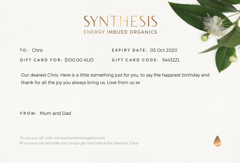 Synthesis Organics Gift card