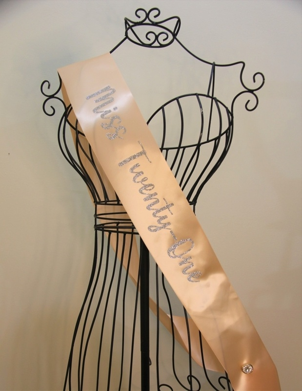 Silver glitter Miss Twenty-One sash (pin not included)