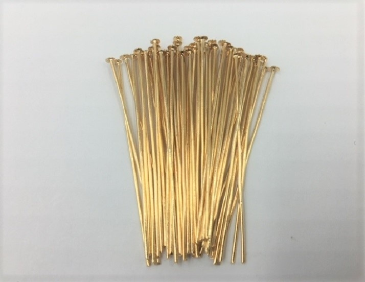 Head Pins - Light Gold - 50mm - 50 Pieces