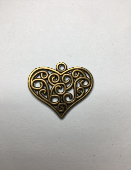 Heart - Antique Bronze - 27mm - 1 Piece