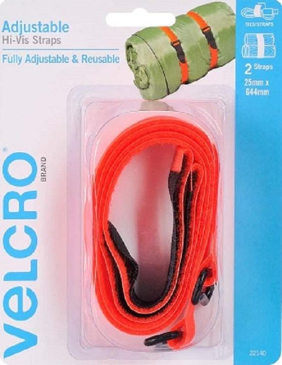 Velcro Adjustable Hi-Vis Straps - 25mm x 645mm - Pack 2