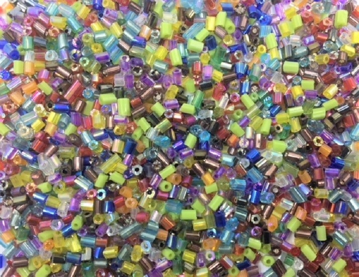 Seed Beads - Glass - 2-3mm - Faceted Hexagon Mix - 20g (approx 1400) - New