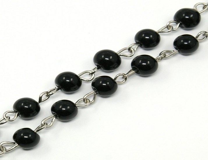 Glass Pearl Beaded Silver Chain - Black - 50cm