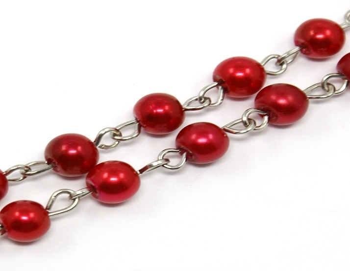 Glass Pearl Beaded Silver Chain - Red - 50cm