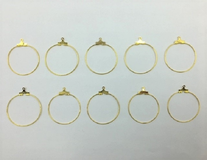 Earring Hoops - Gold - 10 Pieces