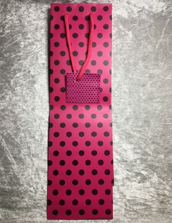 Bottle Bag - Hot Pink With Black Dots