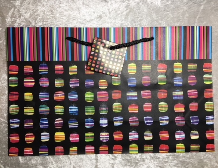 Gift Bag - Black With Coloured Presents