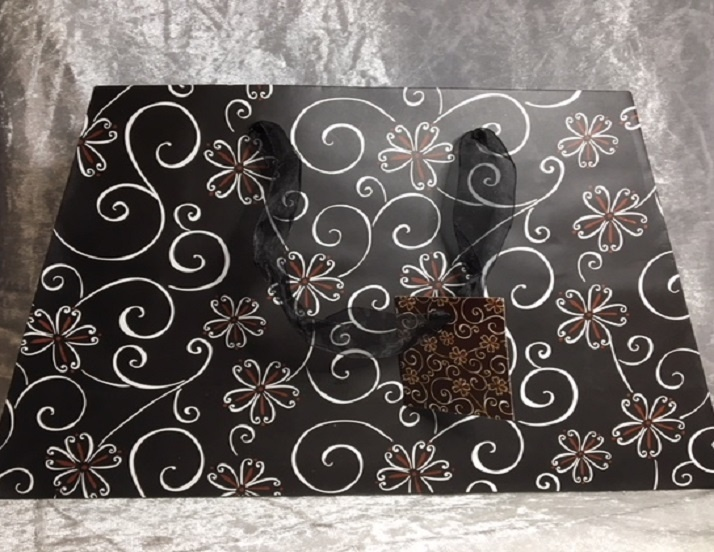Gift Bag - Black With Flowers & Swirls