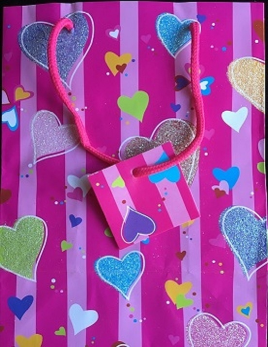 Gift Bag - Pink With Coloured Hearts