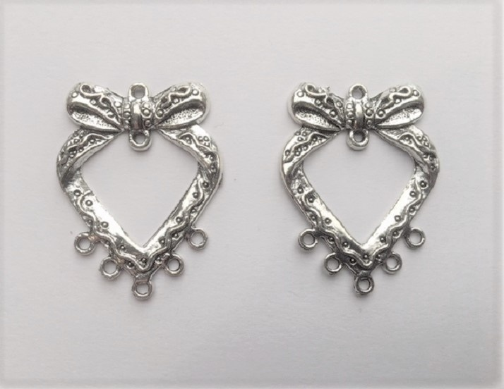 Earring Components - Hearts & Bow - 2 Pieces