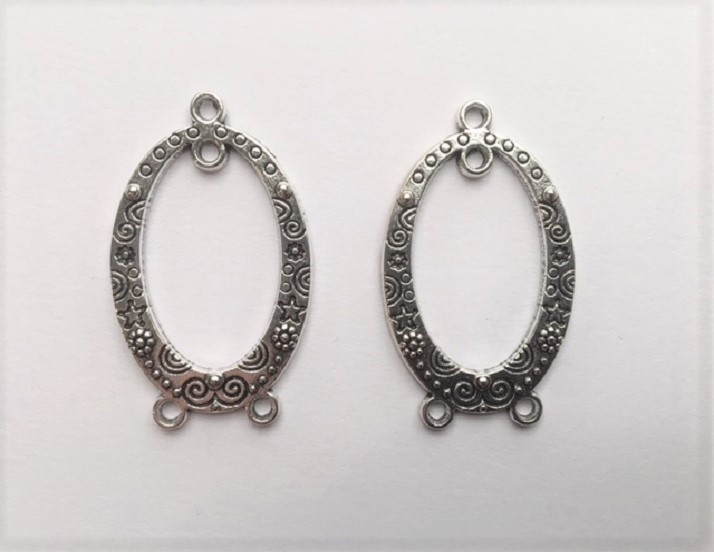 Earring Components - Ovals With Stars & Flowers - 2 Pieces