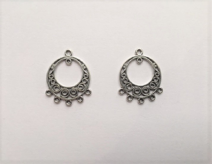 Earring Components - Circles With Swirls - 2 Pieces