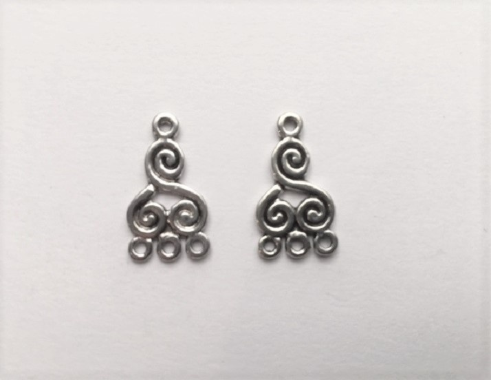 Earring Components - Swirls - 2 Pieces