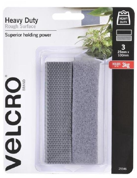 Velcro® Heavy Duty Tape - Grey - 25mm X 100mm