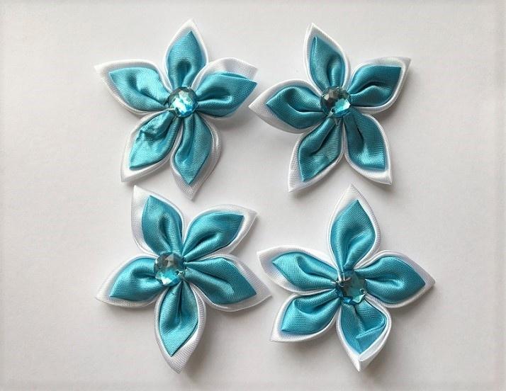 Satin Flowers - Blue & White