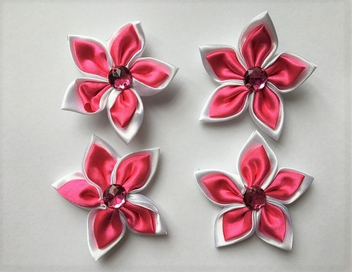 Satin Flowers - Pink & White