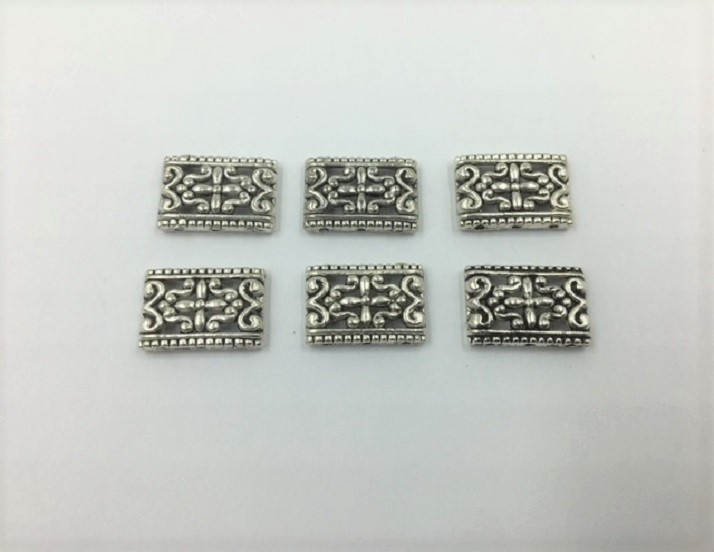Rectangles - Silver - 17mm - 6 Pieces