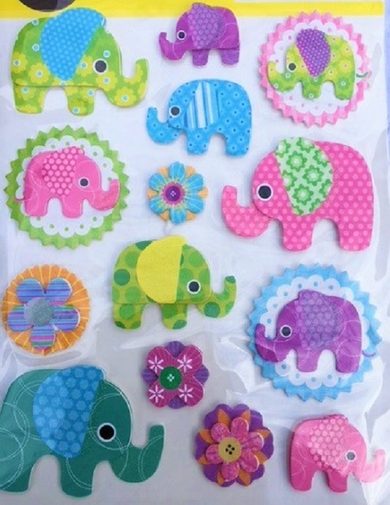 3D Stickers - Elephants
