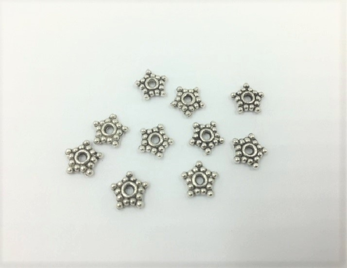 Stars - Silver - 8mm - 10 Pieces