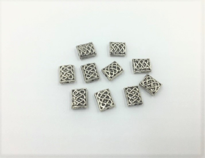 Rectangles - Silver - 9mm - 10 Pieces