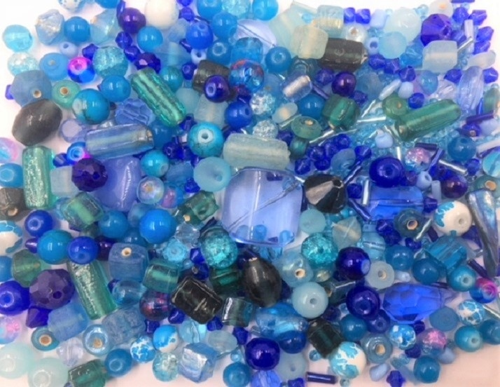 Blue Bead Mix - 100g - 500+ Pieces