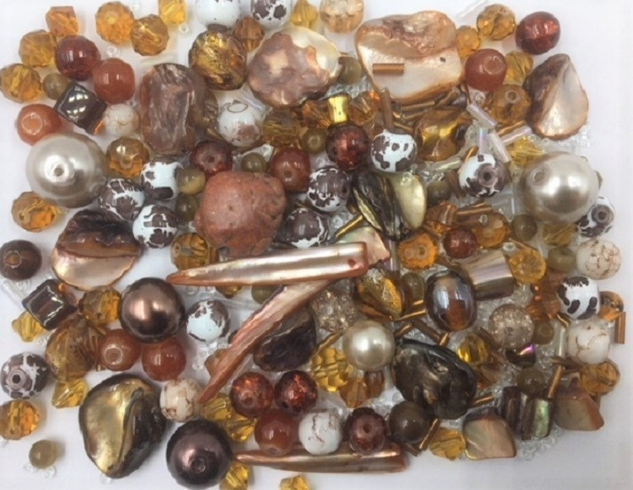 Amber / Brown Bead Mix - 100g - 500+ Pieces
