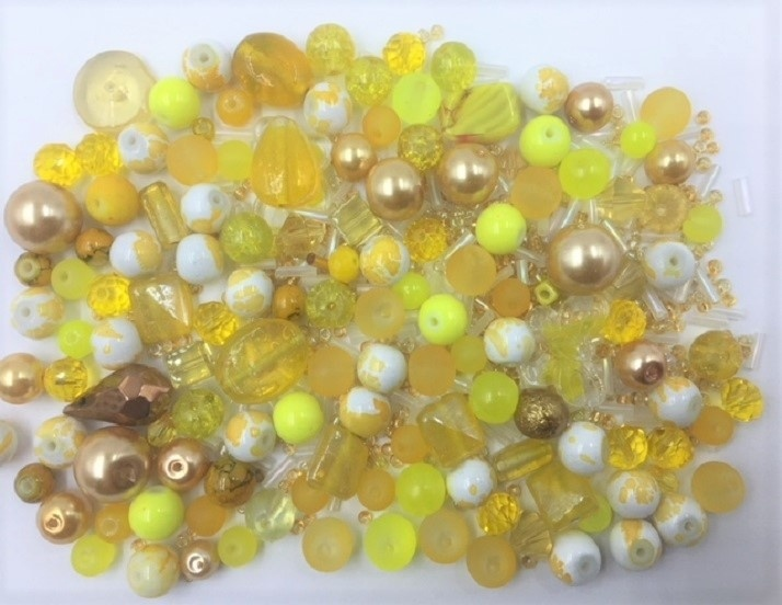 Yellow Bead Mix - 100g - 500+ Pieces