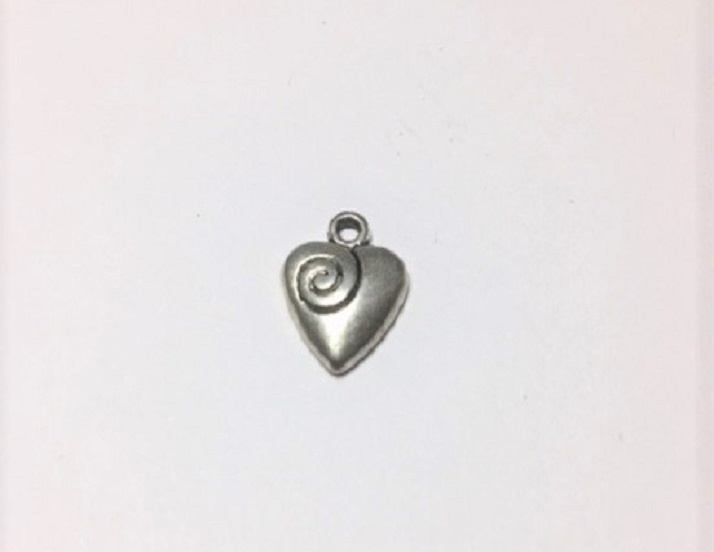 Heart With Swirl - 1 Piece - Silver