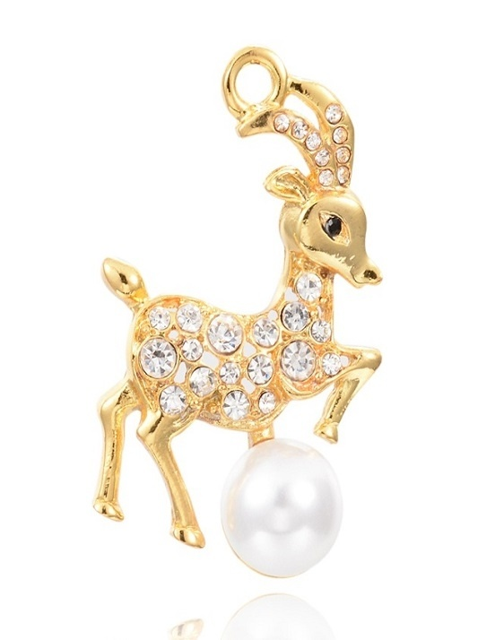 Deer With Pearl - Gold - 42mm - 1 Piece