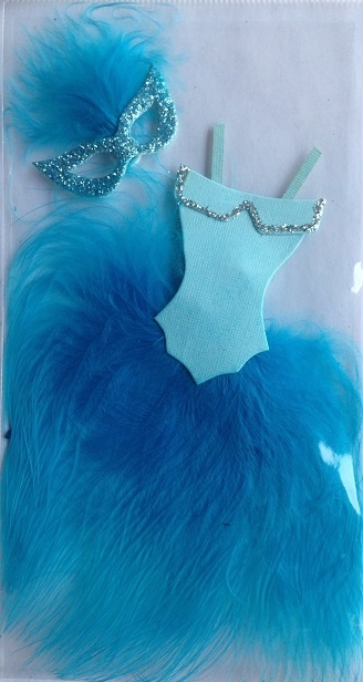 Stickers – 3D - Feather Mask & Dress - Blue