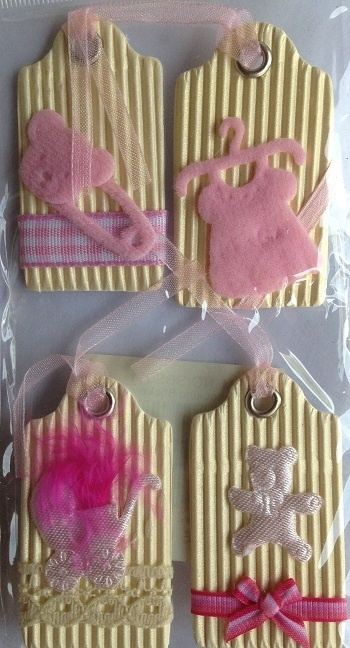 Stickers - 3D - Baby Theme - Pink Tags