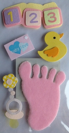 Stickers - 3D - Baby Theme - Pink Ducky & Footprint