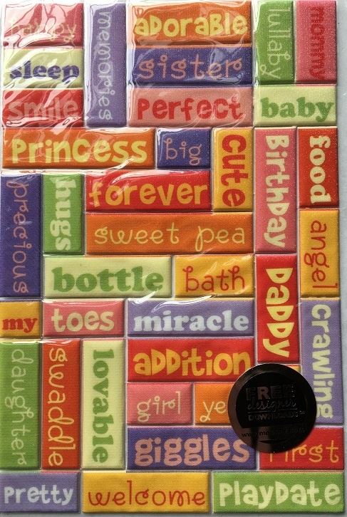 Stickers - Puffy Glitter Baby Girl Theme