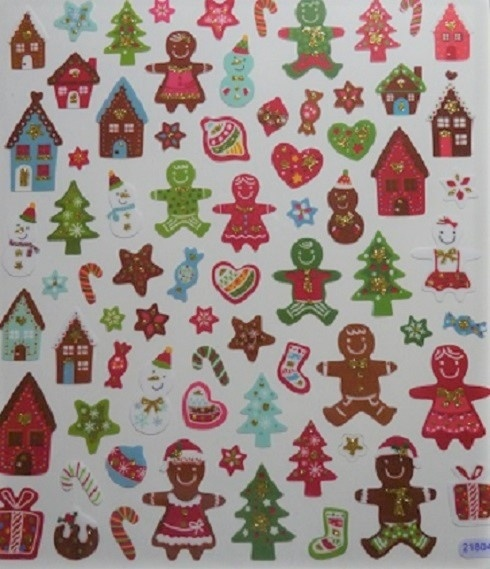 Stickers - Xmas Christmas - Glitter Gingerbread