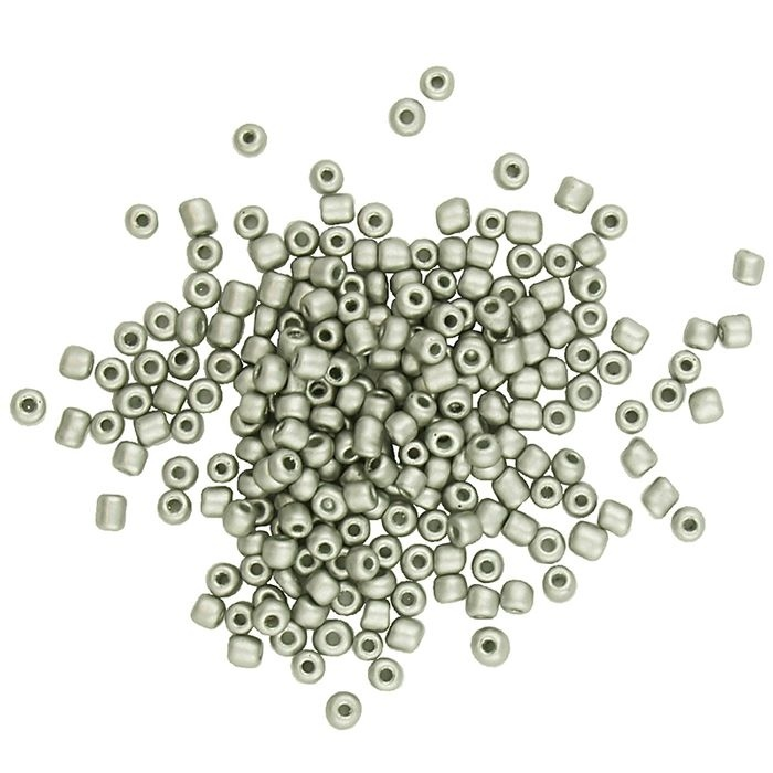 Seed Beads - Glass - Metallic Silver - 4mm-5mm - 20g