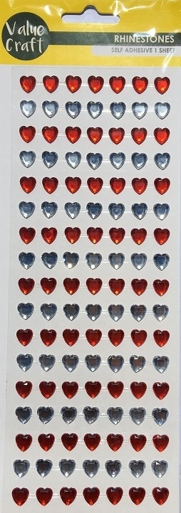 Stickers - Rhinestone Hearts - Red & Silver