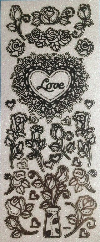 Stickers - Silver Glitter - Love & Roses