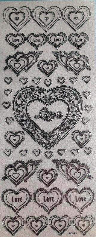 Stickers - Silver Glitter - Love & Hearts
