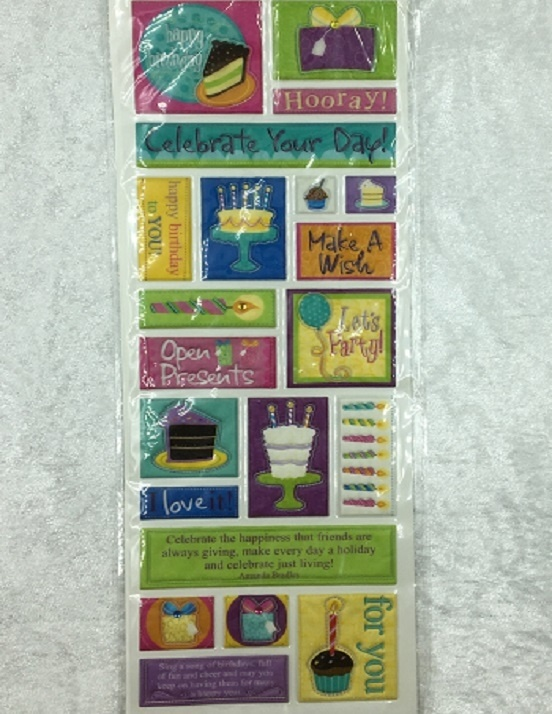 Stickers - Puffy Glitter Birthday Wishes Theme - 21 Pieces