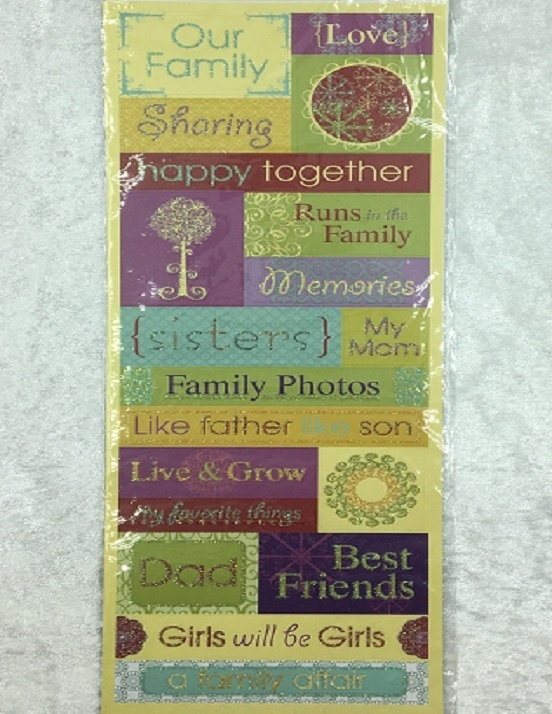 Stickers - Glitter - A Family Affair Glitter Phrases - 19 Pieces