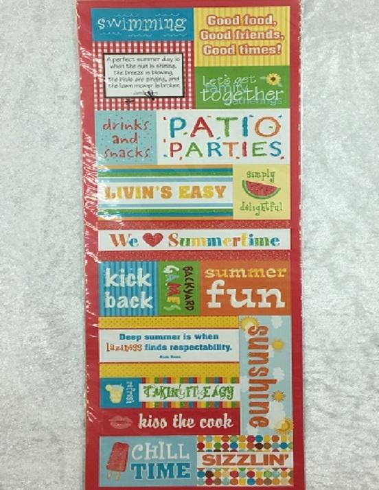 Stickers - Glitter - Summer Fun Phrases - 19 Pieces