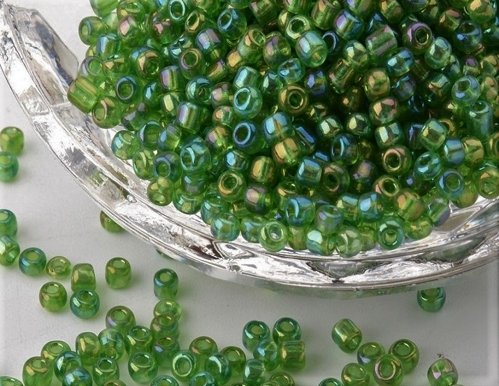 Seed Beads - 3mm - Rainbow Green - 20g