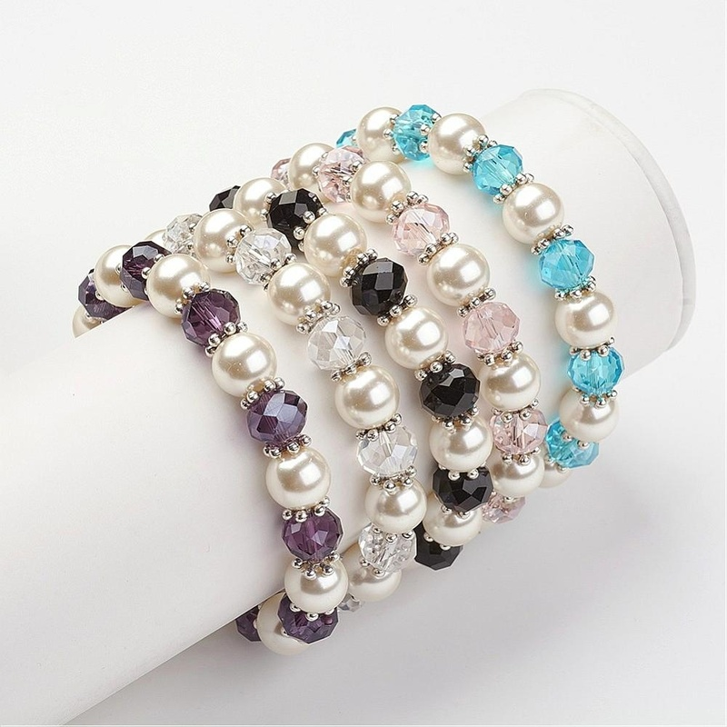 Glass Pearl Stretch Bracelets