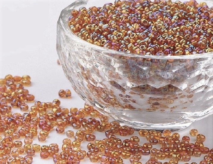 Seed Beads - Gold - Rainbow Amber Mix - 2mm - 20g