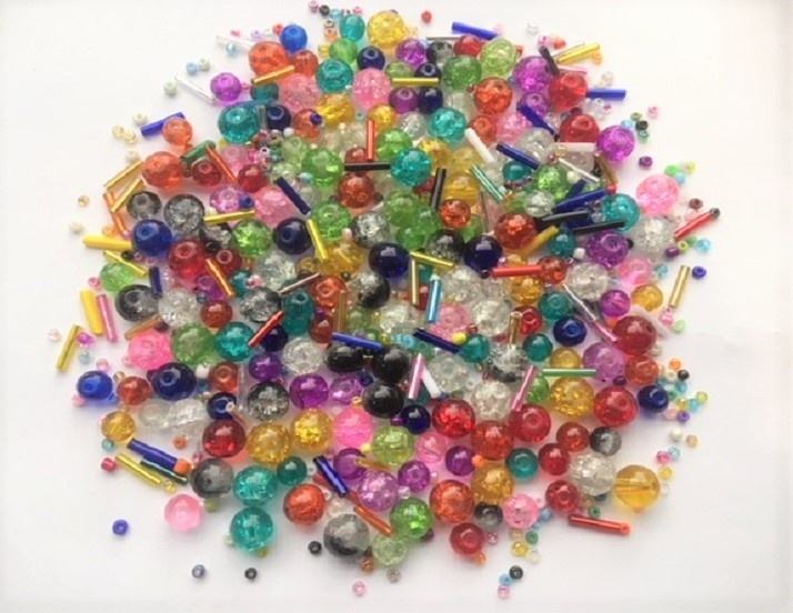 Glass Beads - Round Cracked Glass Mix - 950+ Pieces - 100g