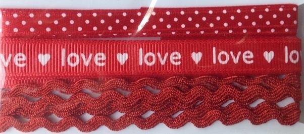 Ribbon - Love - Red & White