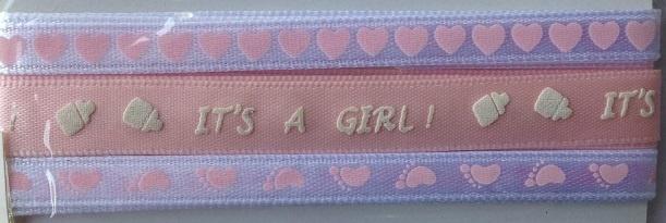 Ribbon - It's A Girl - Pink & White