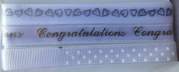 Ribbon - Congratulation - White & Silver